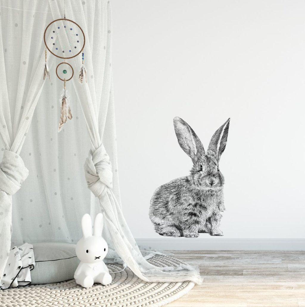 muursticker konijn